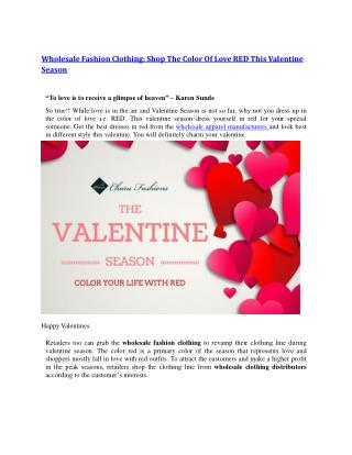 Wholesale Fashion Clothing: Shop The Color Of Love RED This Valentine Season
