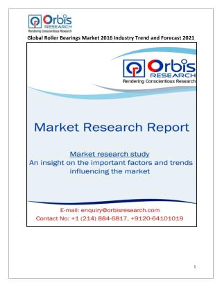 Global Roller Bearings Industry Report Key Manufacturers Analysis 2016