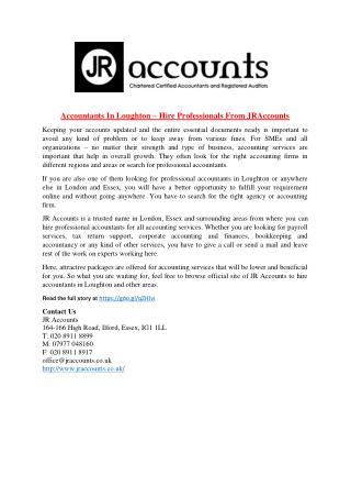 Accountants In Loughton – Hire Professionals From JRAccounts