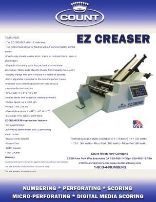 Count Machinery EZ Creaser in US$8,495.00 - Printfinish.com