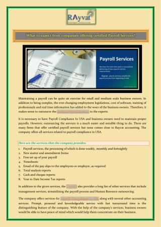 What to expect from companies offering certified Payroll Services?