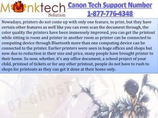 Canon Printer Tech Support Number for Good Service 1-877-776-4348