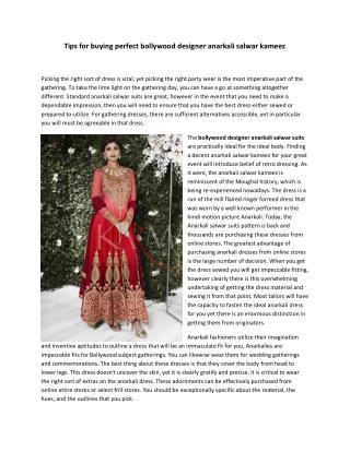 Tips for buying perfect bollywood designer anarkali salwar kameez