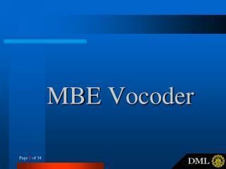 MBE  Vocoder