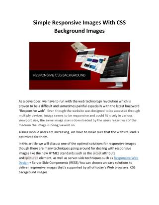Simple Responsive Images With CSS Background Images