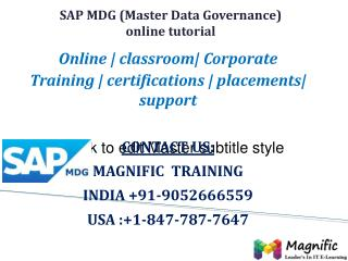 SAP MDG ONLINE TRAINING IN USA|UK|CANADA