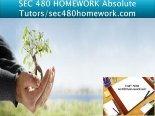 SEC 480 HOMEWORK Absolute Tutors/sec480homework.com