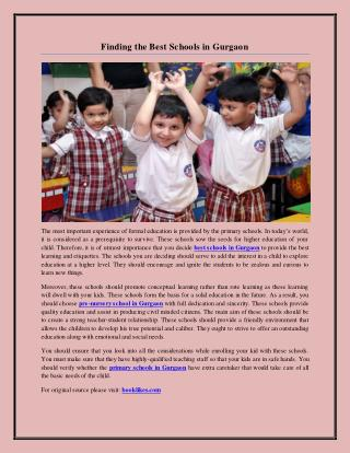 Finding the Best Schools in Gurgaon