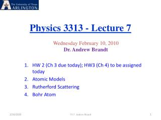 Physics 3313 - Lecture 7