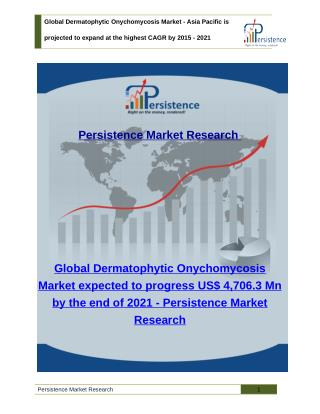 Global Dermatophytic Onychomycosis Market - Size, Analysis, Share, Trends to 2021