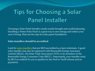 Tips for Choosing a Solar Panel Installer