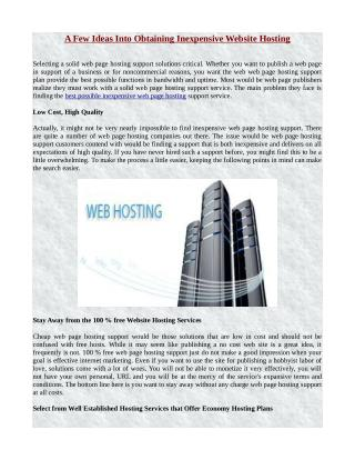 A Few Ideas Into Obtaining Inexpensive Website Hosting