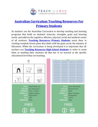 Australian Curriculum Teaching Resources For Primary Students