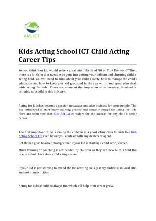 Kids Acting School ICT Child Acting Career Tips