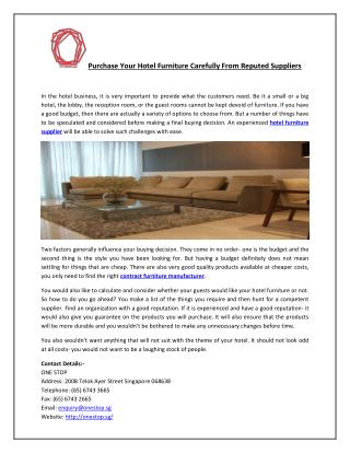 Purchase Your Hotel Furniture Carefully From Reputed Suppliers