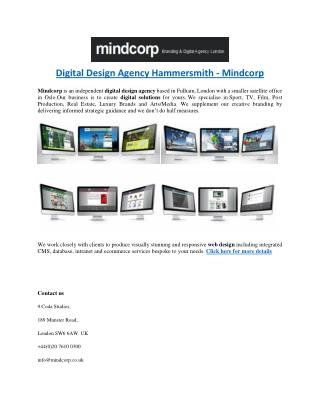 Digital Design Agency Hammersmith - Mindcorp