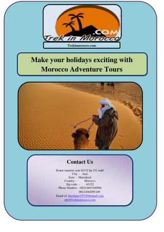 Make your holidays exciting with Morocco Adventure Tours