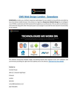 CMS Web Design London - Sowedane