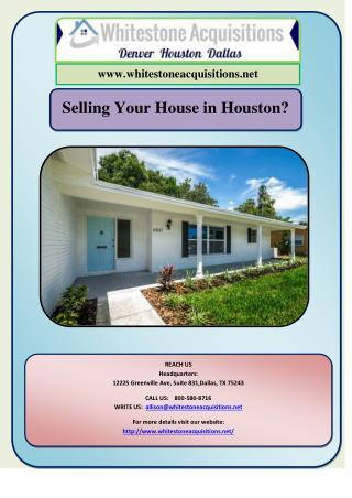 Selling Your House in Houston?