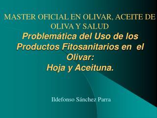 MASTER OFICIAL EN OLIVAR, ACEITE DE OLIVA Y SALUD Problem tica del Uso de los Productos Fitosanitarios en  el Olivar: Ho