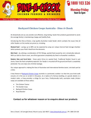 Backyard Chicken Coops Australia - Dine-A-Chook