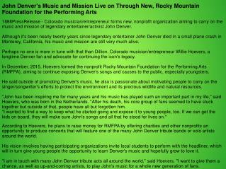 John Denver's Music and Mission Live on Through New, Rocky Mountain Foundation for the Performing Arts
