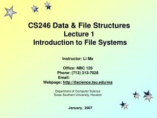 CS246 Data & File Structures Lecture 1  Introduction to File Systems
