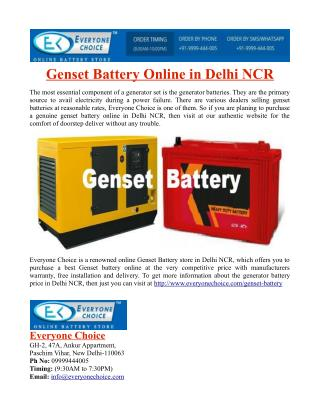 Genset Battery Online in Delhi NCR