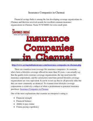 Insurance Companies in Chennai