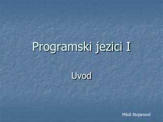 Programski jezici I