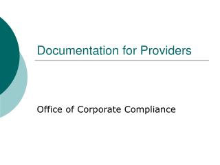Documentation for Providers
