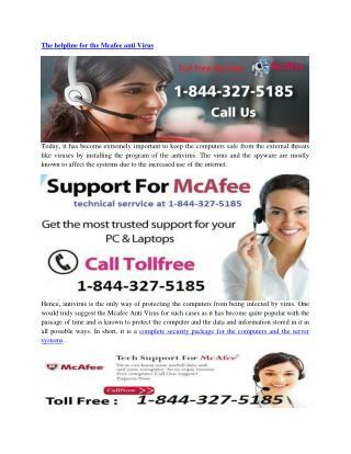 Mcafee Customer Service 1-844-327-5185