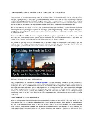 Top uk universities| study abroad consultants for uk