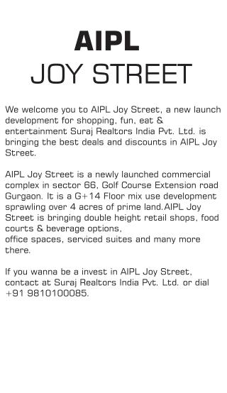 AIPL Joy Street, sector 66 Gurgaon : new commercial launch