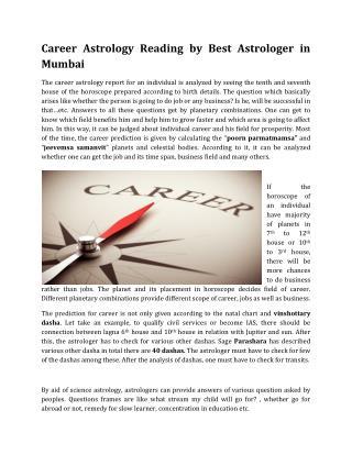 Career Astrology Reading by Best Astrologer in Mumbai