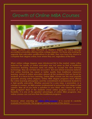 Growth of Online MBA Courses