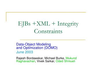 EJBs XML  Integrity Constraints