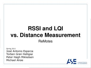 RSSI and LQI  vs. Distance Measurement