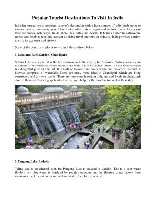 Popular Tourist Destinations To Visit In India