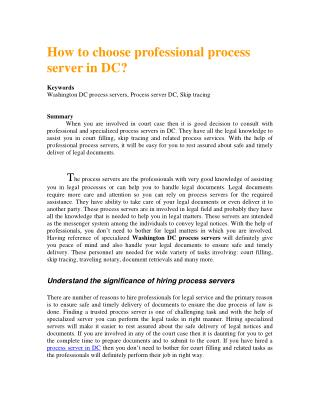 How to choose professional process server in DC?