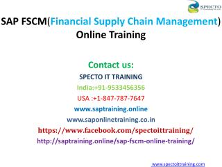 SAP Financial Supply Chain Management Online Training