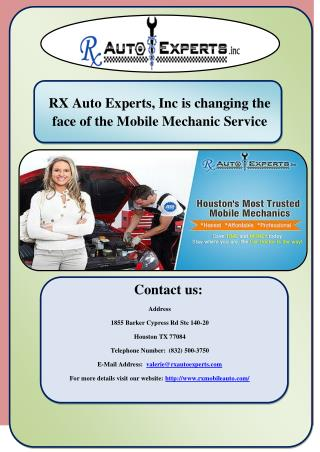 RX Auto Experts, Inc is changing the face of the Mobile Mechanic Service