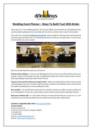 Wedding event planner – Ways to build trust with brides