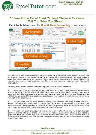 Do You Know Excel Pivot Tables? These 4 Reasons Tell You Why You Should
