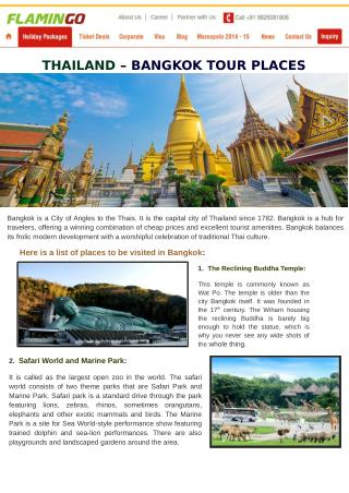THAILAND – BANGKOK TOUR PLACES