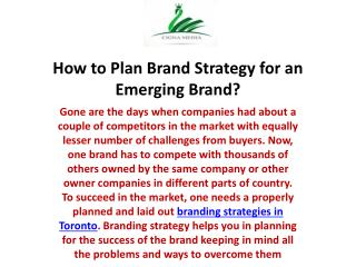 How to Plan Brand Strategy for an Emerging Brand?