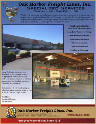 Specialized Warehouse Service in San Diego, CA