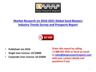 International Sand Blasters Manufacturing Plants Analysis 2016-2021 Forecasts Report