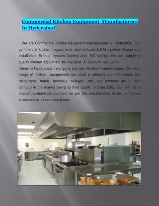 Commercial Kitchen Equipments in Hyderabad