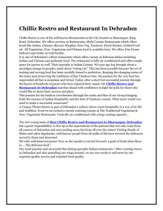 Chilliz Restro and Restaurant In Dehradun
